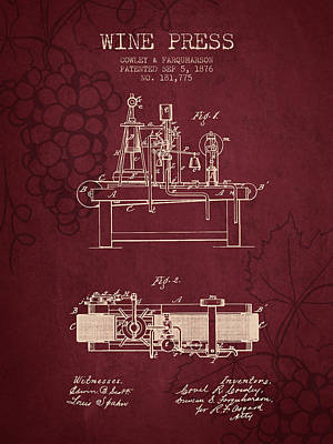 1876 Wine Press Patent - Red Wine Poster by Aged Pixel