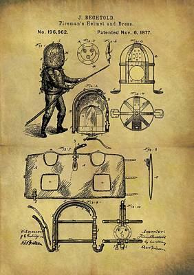 1877 Fireman's Suit Patent Poster