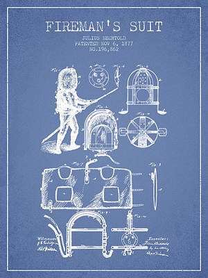 1877 Firemans Suit Patent - Light Blue Poster by Aged Pixel