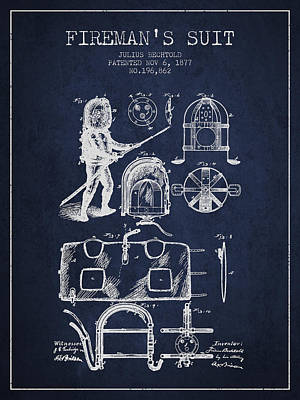 1877 Firemans Suit Patent - Navy Blue Poster by Aged Pixel
