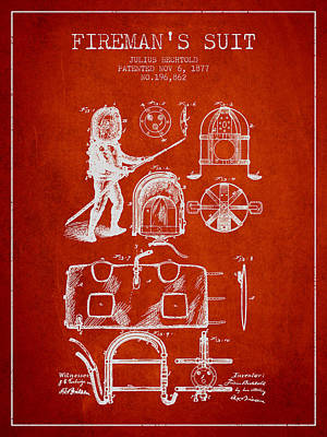 1877 Firemans Suit Patent - Red Poster by Aged Pixel
