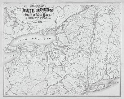 1877 New York State Railroad Map Black And White Poster