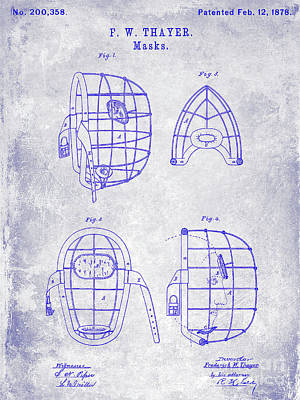 1878 Catchers Mask Patent Blueprint Poster