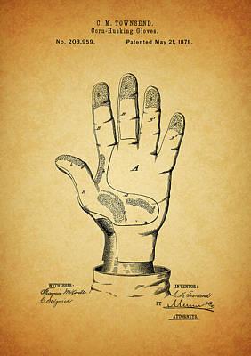 1878 Corn Husking Glove Patent Poster