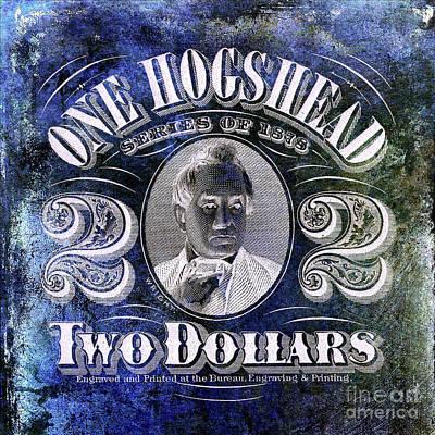 1878 Hogshead Beer Tax Stamp Blue Poster by Jon Neidert