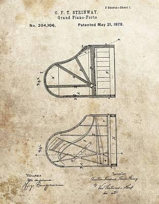 1878 Steinway Grand Piano Patent Poster