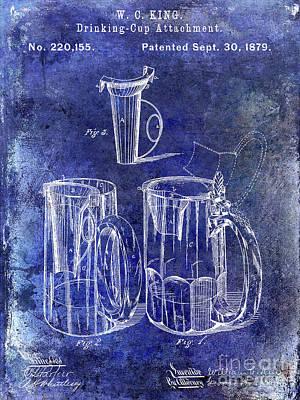 1879 Beer Mug Patent Blue Poster by Jon Neidert
