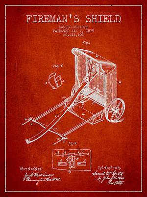1879 Firemans Shield Patent - Red Poster by Aged Pixel