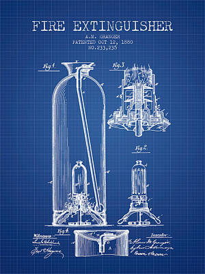 1880 Fire Extinguisher Patent - Blueprint Poster by Aged Pixel