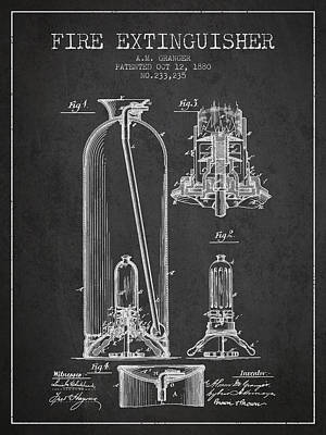 1880 Fire Extinguisher Patent - Charcoal Poster by Aged Pixel