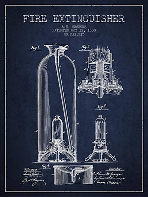 1880 Fire Extinguisher Patent - Navy Blue Poster by Aged Pixel