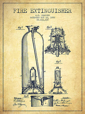 1880 Fire Extinguisher Patent - Vintage Poster