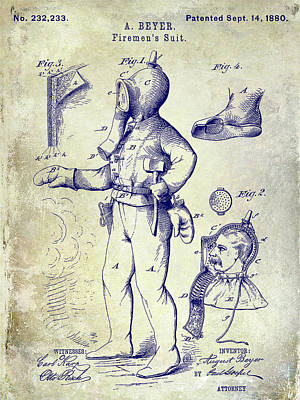 1880 Fireman Suite Patent Poster