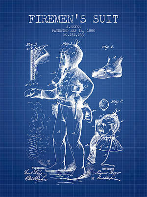 1880  Firemens Suit Patent - Blueprint Poster by Aged Pixel