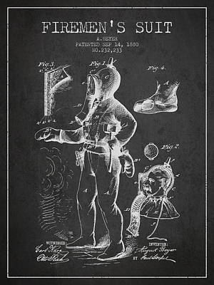 1880  Firemens Suit Patent - Charcoal Poster by Aged Pixel