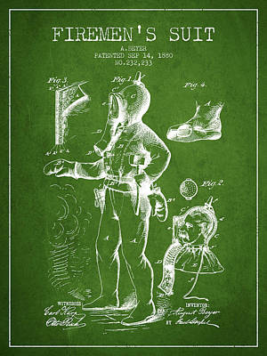 1880  Firemens Suit Patent - Green Poster by Aged Pixel