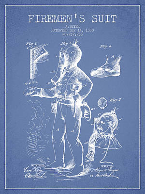 1880  Firemens Suit Patent - Light Blue Poster by Aged Pixel