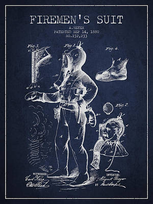 1880  Firemens Suit Patent - Navy Blue Poster by Aged Pixel