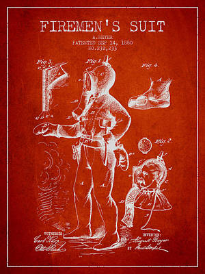 1880  Firemens Suit Patent - Red Poster by Aged Pixel