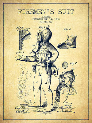 1880  Firemens Suit Patent - Vintage Poster by Aged Pixel