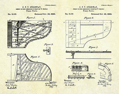 1880 Steinway Piano Forte Patent Art Sheets V2 Poster by Gary Bodnar