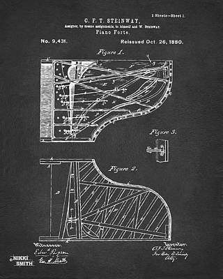 1880 Steinway Piano Forte Patent Gray Poster