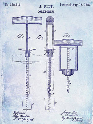 1882 Corkscrew Patent Poster by Jon Neidert