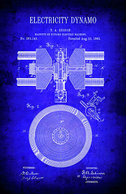 1882 Electricity Dynamo Patent Blueprint Poster