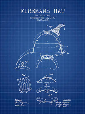 1882 Firemans Hat Patent - Blueprint Poster by Aged Pixel