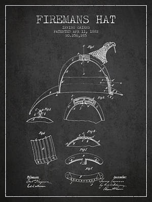 1882 Firemans Hat Patent - Charcoal Poster by Aged Pixel