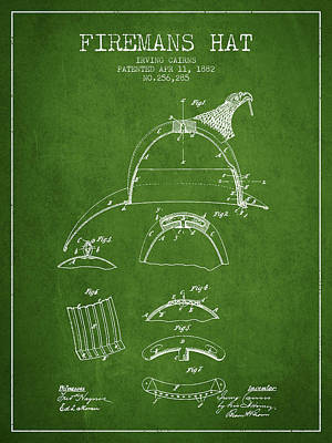 1882 Firemans Hat Patent - Green Poster by Aged Pixel