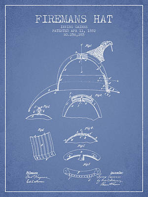 1882 Firemans Hat Patent - Light Blue Poster by Aged Pixel