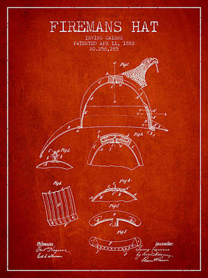 1882 Firemans Hat Patent - Red Poster by Aged Pixel