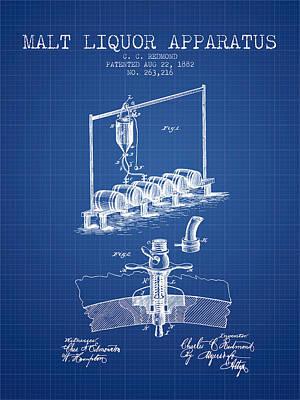 1882 Malt Liquor Apparatus Patent - Blueprint Poster by Aged Pixel