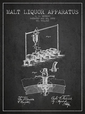 1882 Malt Liquor Apparatus Patent - Charcoal Poster by Aged Pixel
