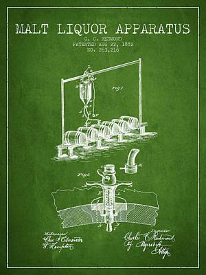 1882 Malt Liquor Apparatus Patent - Green Poster by Aged Pixel