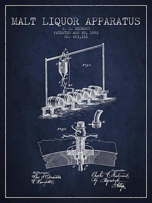 1882 Malt Liquor Apparatus Patent - Navy Blue Poster by Aged Pixel