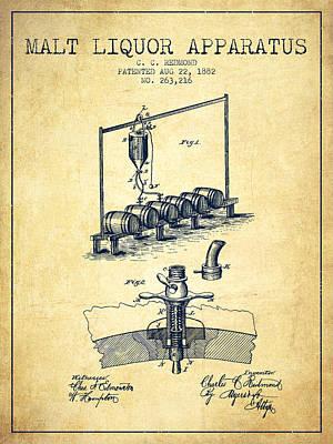 1882 Malt Liquor Apparatus Patent - Vintage Poster by Aged Pixel