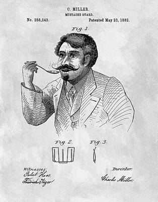 1882 Moustache Guard Patent Poster by Dan Sproul