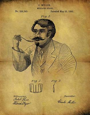 1882 Mustache Guard Patent Poster by Dan Sproul