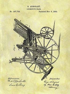 1883 Wheelchair Patent Poster by Dan Sproul