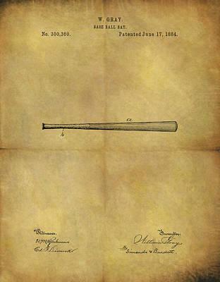 1884 Baseball Bat Illustration Poster