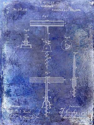1884 Corkscrew Patent Blue Poster by Jon Neidert