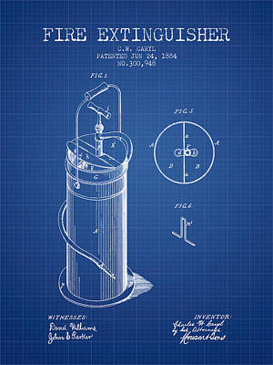 1884 Fire Extinguisher Patent - Blueprint Poster by Aged Pixel