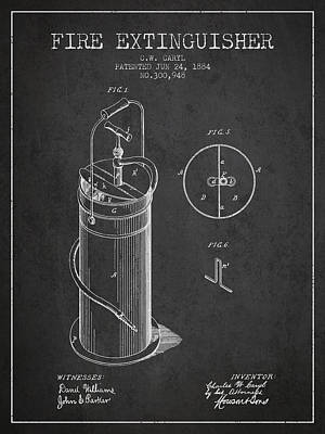 1884 Fire Extinguisher Patent - Charcoal Poster by Aged Pixel