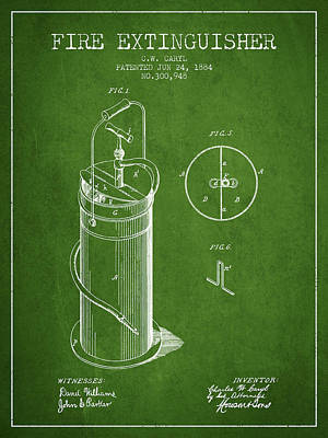 1884 Fire Extinguisher Patent - Green Poster by Aged Pixel