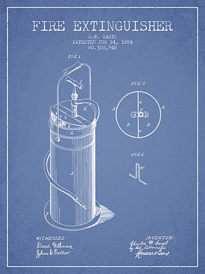 1884 Fire Extinguisher Patent - Light Blue Poster by Aged Pixel