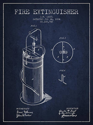 1884 Fire Extinguisher Patent - Navy Blue Poster by Aged Pixel