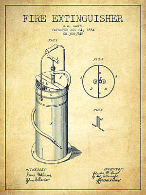 1884 Fire Extinguisher Patent - Vintage Poster by Aged Pixel