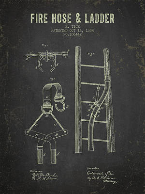 1884 Fire Hose And Ladder Patent- Dark Grunge Poster by Aged Pixel
